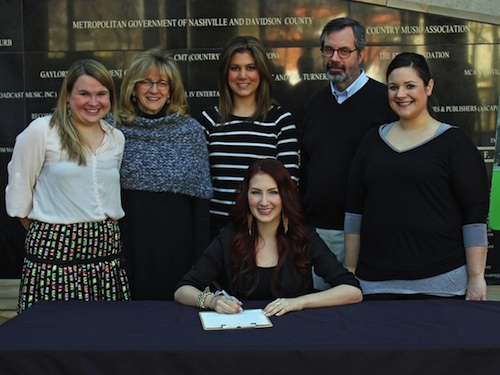 Pictured (L-R): Rachel Weingartner (Membership Manager, Country Music Hall of Fame and Museum), Pamela Johnson (Vice President of Development, Country Music Hall of Fame and Museum), Karen Krieschen (Cold River Records), Jay Orr (Vice President, Programs), Erica Johnson (Cold River Records), and Katie Armiger