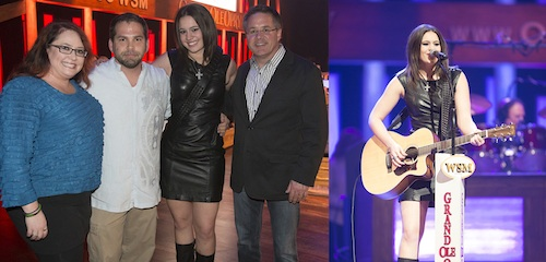 Photo 1: Pictured (L-R): Shelley Hargis, Michael Knox, Rachel Farley, Pete Fisher. Photo 2: Rachel Farley makes her Grand Ole Opry debut.