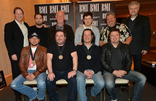 Pictured (back row, l-r): BMI's Clay Bradley, producer Michael Knox, Broken Bow Records' Benny Brown, BMG Chrysalis Music's Daniel Lee, Big Red Toe Music's Craig Wiseman and Music of Cal IV's Daniel Hill; (front row, l-r): Jason Aldean; and co-writers Dylan Altman, Jim McCormick and Rodney Clawson. Photo by Rick Diamond