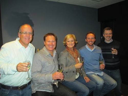 Pictured from L-R: Phil May (Vice President and General Manager, Warner/Chappell Music Nashville), Tim Nichols (Co-Owner, THiS Music), Connie Harrington (Co-Owner, THiS Music), Rusty Gaston (Co-Owner and General Manager, THiS Music), Ben Vaughn (Executive Vice President, Warner/Chappell Music Nashville).  Photo credit: William Patton.