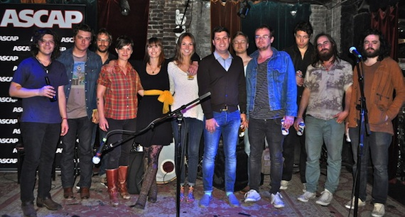 Pictured (L-R): The WIld Feathers, Megan McCormick, Jill Andrews, ASCAP's Evyn Mustoe, ASCAP's Jesse Willoughby, Clear Plastic Masks