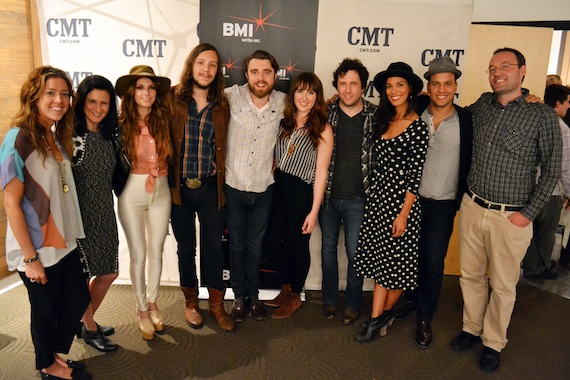 Pictured (L-R): BMI's Penny Everhard, CMT's Leslie Fram, Escondido, Dugas, Will Hoge, JOHNNYSWIM and CMT's Craig Shelburne.