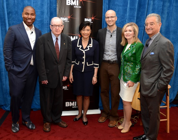 Pictured (L-R): BMI songwriter Claude Kelly, Chairman Howard Coble, Congresswoman Dr. Judy Chu, BMI songwriter Luke Laird, Congressman Marsha Blackburn and BMI President and CEO Del Bryant.