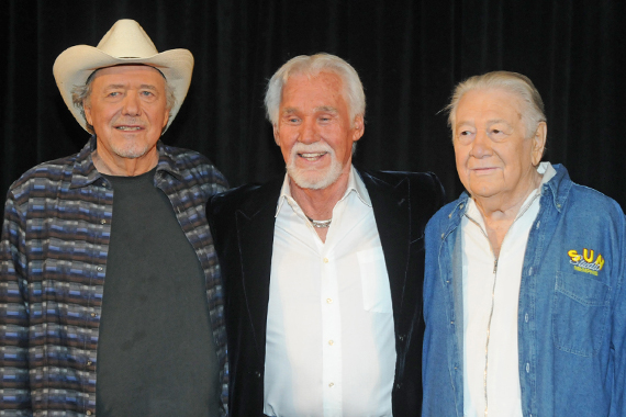 "2013 Country Music Hall of Fame Honorees. Pictured (L-R) Bobby Bare, Kenny Rogers, ""Cowboy"" Jack Clement."