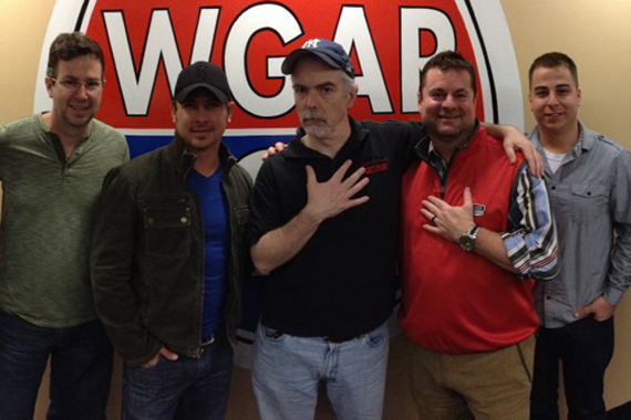 """Blaster Record's Jared Ashley recently visited WGAR in Cleveland for a visit and performance to promote his latest single, """"Last Train To Memphis."""" Pictured (L-R): Dave Collins (Blaster Records), Jared Ashley, Charley Connolly (PD, WGAR), Tom Porter (CEO, Blaster Entertainment), Dan Barbera (Management, Blaster)."""