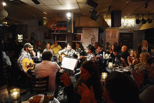 Marty Dodson, Dave Turnbull, Ryan Tyndell and Bruce Wallace play at The Bluebird Cafe.