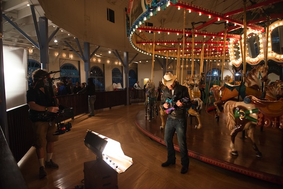 """Brad Paisley on the set of his video for """"Beat This Summer."""""""
