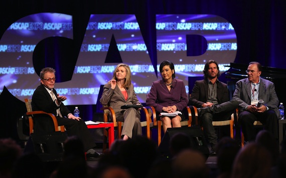 "Pictured (L-R): Paul Williams, Marsha Blackburn, Judy Chu, Brett James and John LoFrumento participate in the ""Securing Fair Compensation Online: How You and the U.S. Congress Can Make A Difference"" panel. Photo: by Brian Dowling/Invision for ASCAP/AP Images)"