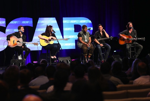 "Pictured (L-R): ASCAP songwriters Tom Higgenson (Plain White T's), Brandy Clark, Stacey Barthe (with guest guitarist) and Brett James participate in ""The Writers Jam"" closing panel at the 8th annual ASCAP ""I Create Music"" EXPO.  (Photo by Brian Dowling/Invision for ASCAP/AP Images)"