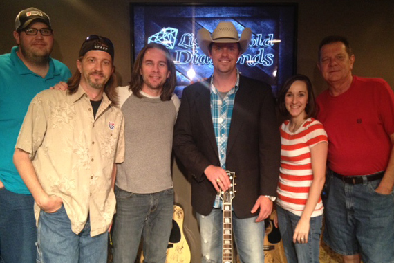 """LandStar Entertainment's Adam Fears visited the staff at WUSY Chattanooga and performed his new single """"There's a Girl Out There."""" Pictured (L-R): Cowboy Kyle, Styckman, Gator Harrison, Adam Fears, Melissa Wagner, Bill """"Dex"""" Poindexter."""