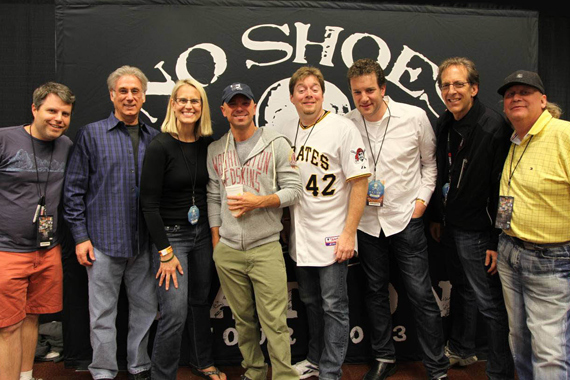 Kenny Chesney met with radio prior to his 'No Shoes Nation' tour at Fed Ex Field on May 25. Pictured (L-R): David Friedman (Columbia Nashville); Charlie Cook ('MusicRow' Columnist and West Virginia Broadcasting VP/Programming); Meg Stevens (Clear Channel Washington-Baltimore OM); Chesney; Don Brake (WFRE Frederick PD); Jon Zellner (SVP/Programming); Paul Donovan (WMZQ Washington DC APD/MD); Scot Michaels (Morris Management Promo Rep.)