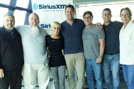 """Kellie Pickler stopped by SiriusXM's Nashville studio after her successful run on Dancing With The Stars to promote her latest single, """"Someone Somewhere Tonight."""" Pictured (L-R):  Gordon Kerr (Black River); John Marks (SiriusXM); Kellie Pickler; Storme Warren (SiriusXM); and Black River's Greg McCarn, Brian Rhoades and Bill Macky."""