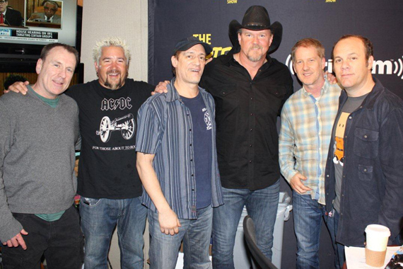 Opie & Anthony's SiriusXM show invited Trace Adkins, Colin Quinn, Guy Fieri, and Tom Papa on air in New York City on Friday, May 17. Pictured (L-R): Colin Quinn, Guy Fieri, SiriusXM host Anthony Cumia, Trace Adkins, SiriusXM host Opie Hughes, Tom Papa. Photo: Erik Nagel