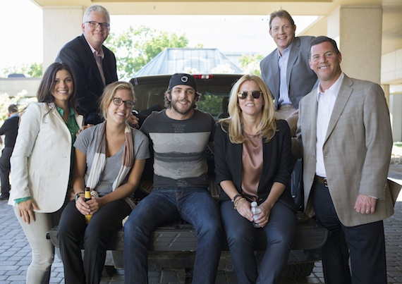 Pictured (L-R): Major Management's Virginia Davis; BMI's Perry Howard and Penny Everhard; Thomas Rhett; and BMI's Leslie Roberts, Clay Bradley, and Mark Mason.
