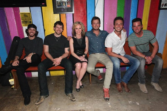 Pictured (L-R): Chris Janson, Randy Montana, Kristen Kelly, Stephen Barker Liles, Eric Gunderson, and David Nail. Photo credit: Randi Radcliff