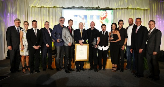 Pictured are (l-r): BMI's Phil Graham and Leslie Roberts, Word Entertainment's Rod Riley, Songwriter of the Year honoree Caroll L. McGruder, Publisher of the Year Dale Mathews of Word Entertainment, Song of the Year honoree Building 429's Jason Roy, Special Citation of Appreciation honoree Jim Van Hook, Song of the Year honorees Building 429's Aaron Branch and Michael Anderson, Provident Music Group's Holly Zabk, Song of the Year honoree Building 429's Jesse Garcia, Provident Music Group's Devon DeVries, and BMI's Mike O'Neill and Jody Williams. Photo by John Russell