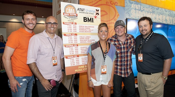 Pictured (L-R): Drew Baldridge, AT&T's Sean Mitchell, BMI's Penny Everhard, Adam Craig & BMI's Mason Hunter at the AT&T Showcase Stage presented by BMI.