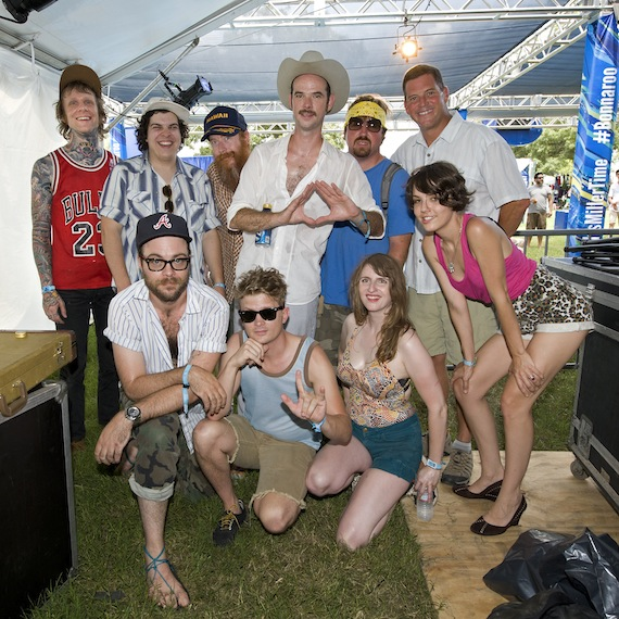 BMI's Mark Mason (back row, far right) grabs a quick photo with Road to Bonnaroo winner Ri¢hie at the 2013 Bonnaroo Music and Arts Festival