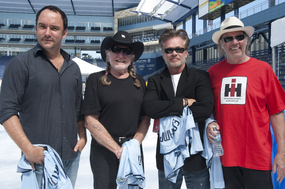 Farm Aid Board Members Dave Matthews, Willie Nelson, John Mellencamp, and Neil Young.