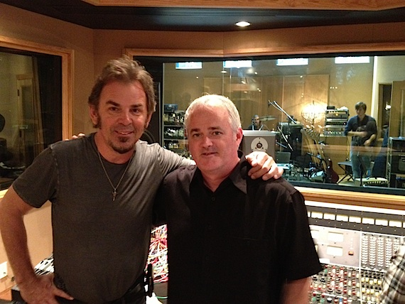 Pictured (L-R): Jonathan Cain and Dan Hodges working on demos at Cain's Addiction Sound Studios located in Berry Hill, Nashville.