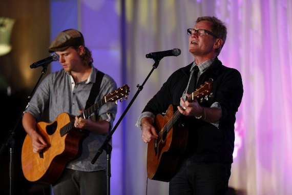 "Steven Curtis Chapman (right) and his son Caleb perform ""Do Everything."""