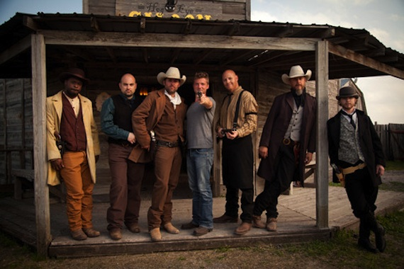 Pictured (L-R): TAZ,  Josh Moore, Casey Donahew, Evan Kaufmann (director), J.J. Soto,Steve Stone and A.C. Copeland
