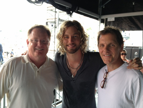 Pictured (L-R): Sony Music Chairman/CEO Gary Overton, Casey James and Norbert Nix, VP Radio Promotions, Columbia Nashville.