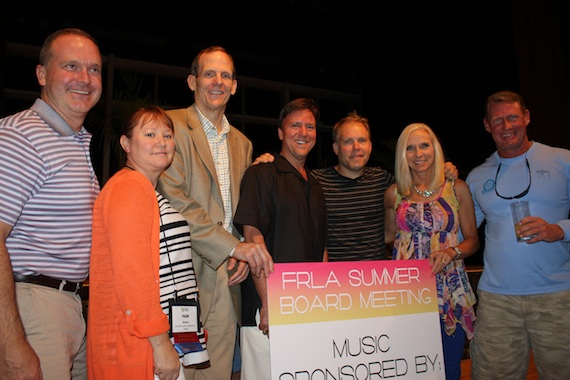 Pictured (from l-to-r): Hilton Fort Lauderdale Managing Director Kevin Speidel, Wyndham-Tampa Bay GM Pam Avery, BMI's Dan Spears, Incoming FRLA Chairman and Ritz Carlton-Amelia Island GM Jim McManemon, Danny Myrick, FRLA President & CEO Carol Dover and Tradewinds Island Resorts President Keith Overton.