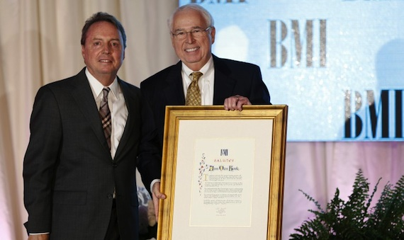 Industry veteran Jim Van Hook receives the Special Citation of Appreciation at the BMI Christian Awards, staged June 18 in Nashville. Pictured (L-R): BMI's Jody Williams and Jim Van Hook. Photo: John Russell