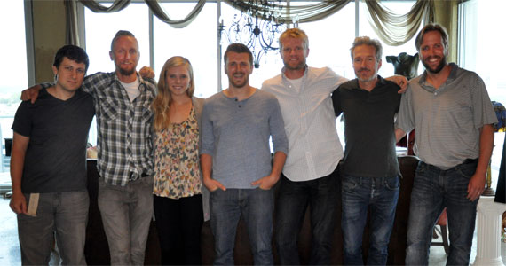 Pictured (L-R): Daniel Lee, Senior Creative Director BMG Chrysalis; Alex Orbison, President Still Working Music; Kendall Lettow, Creative Director Still Working Music; Ryan Lafferty ;Kos Weaver, EVP BMG Chrysalis; Tommy Lee James,  Chief Creative Officer Still Working Music; Scott Safford, Lafferty's lawyer, Safford-Motley.