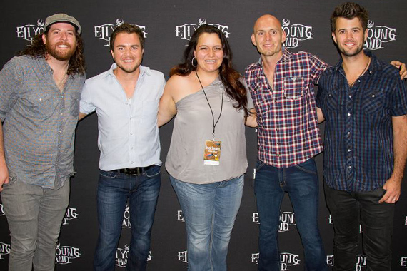 """KZPK MD Brook Stephens met up with the boys of the Eli Young Band before they played their No. 33 single """"Drunk Last Night"""" during Minneapolis leg of the 'No Shoes Nation Tour' at Target Field. Pictured (L to R): EYB's James Young, Mike Eli, Brook Stephens, EYB's Jon Jones and Chris Thompson."""