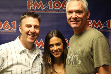 """Jana Kramer recently visited WMIL in promotion of her No. 55 single, """"I Hope It Rains."""" Pictured (L-R): Tom Martens (W.A.R.), Jana Kramer and Kerry Wolfe (PD-WMIL)"""