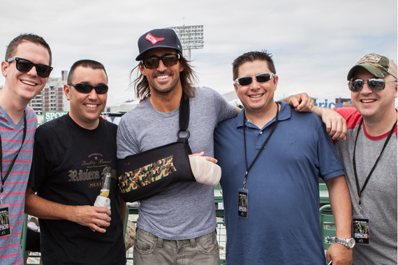Before playing to a sold out crowd at Fenway Park, RCA Nashville's Jake Owen spent time with radio friends from KSD, WTHT, and WCKT. Pictured (L-R): Dusty Panhorst, (MD KSD), Corey Garrison (PD/MD WTHT Portland), Jake Owen, Steve Stewart, (PD KSD St Louis) Todd Nixon (PD WCKT Ft Myers). Photo: Angelynn Edwards Tinsley