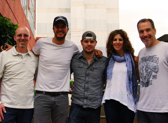 Pictured (L-R): Sony/ATV's Terry Wakefield, Luke Bryan, Stevens, KPentertainment's Kerri Edwards, Sony/ATV's Tom Luteran