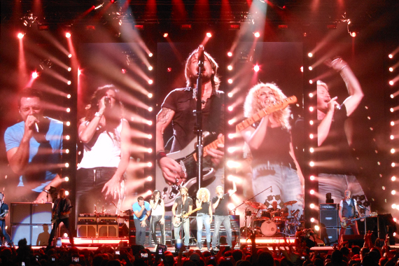 "Keith Urban with opening label mates Little Big Town on the 'Light The Fuse' Tour singing ""You Gonna Fly."""