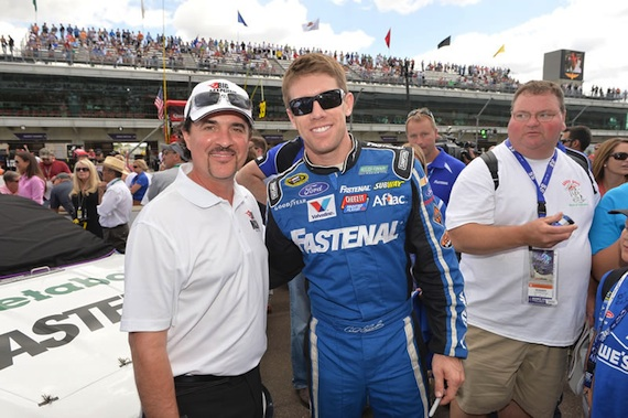 Pictured (L-R): Big Machine Label Group CEO Scott Borchetta with Brickyard 400 winner Ryan Newman.