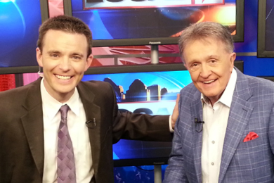 "Country Music Hall of Famer Whisperin' Bill Anderson (R) recently stopped by WKRC-TV in Cincinnati, OH to visit with Bob Herzog (L) about becoming the Honorary Captain of the Red's baseball team on August 24. Anderson wrote ""Cincinnati, Ohio,"" a hit for Connie Smith in the late sixties, and is currently being sung by the huge crowds at every Red's game this season."
