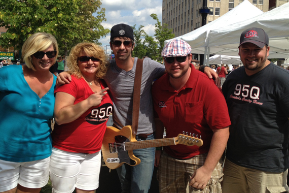 """Chris Cavanaugh took time to visit with 95Q in promotion of his latest single """"I'm All About That"""" before playing the Decatur Celebration in Illinois this past weekend (Aug. 4) with David Nail. Pictured (L-R): Kimmy, Trish, Chris, Jared, and Toby Tucker all from 95Q in Decatur."""