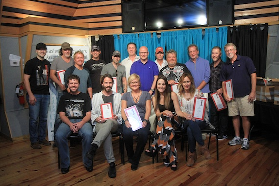 Pictured (Front row, L-R): NSAI President Lee Thomas Miller, Paul Jenkins, Connie Harrington, Natalie Hemby, Jessi Alexander. (Second row, standing, L-R): Luke Laird, David Lee Murphy, Shane McAnally, Jimmy Yeary, Andrew Dorff, NSAI Executive Director Bart Herbison, Mark Bright, Tim James, Craig Wiseman, President's Choice Award recipient Gerry House, Jason Sellers, Tom Shapiro