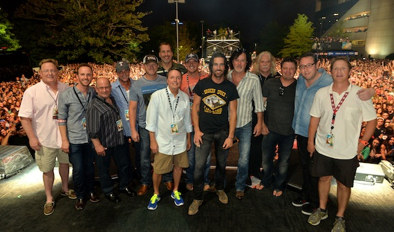 Pictured (L-R): Sony Nashville's Gary Overton, This Music's Rusty Gaston, Avenue Bank's Ron Cox, ASCAP's Michael Martin, co-write Ben Hayslip, EMI Blackwood Music's Tom Luteran, BMI's Jody Williams, co-writer Jimmy Yeary, Jake Owen, co-writer David Lee Murphy, Old Desperados' Doug Casmus, producers Rodney Clawson and Joey Moi, and BMI's Clay Bradley.