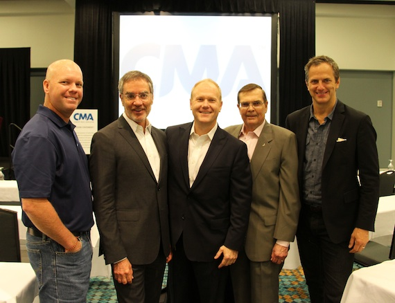 Pictured (L-R): Clay Hunnicutt, CMA Board member and Clear Channel Executive Vice President of Programming; Bob Pittman, Clear Channel Chairman and Chief Executive Officer; Troy Tomlinson, CMA Chairman of the Board of Directors and CEO of Sony/ATV Music Publishing; Ed Hardy, CMA President of the Board of Directors; Tom Poleman, Clear Channel President of National Programming.Photo: Christian Bottorff / CMA