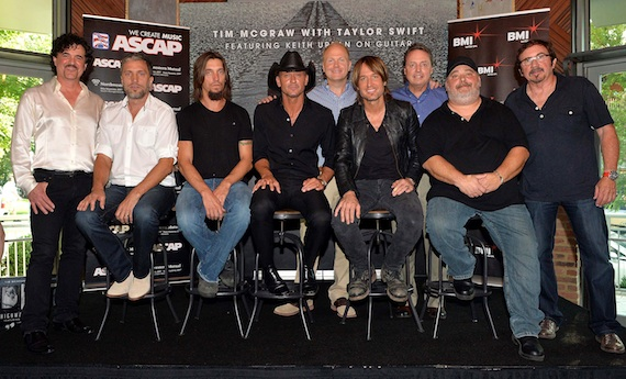 Pictured (L-R): Big Machine Label Group's Scott Borchetta, co-writers Brett and Brad Warren, Tim McGraw, Sony ATV Music Publishing's Troy Tomlinson, Keith Urban, BMI's Jody Williams, co-writer Mark Irwin and producer Byron Gallimore. Photos by Rick Diamond.