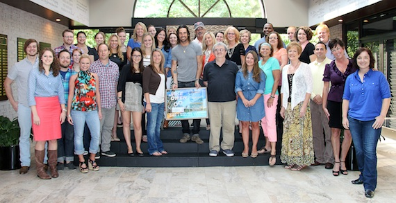 Jake Owen visits with the staff of the Country Music Association.
