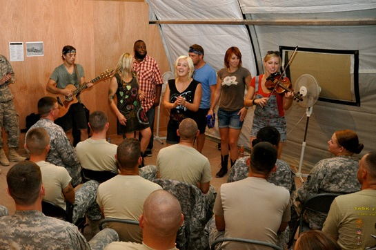 Maggie Rose performs for members of the U.S. military.