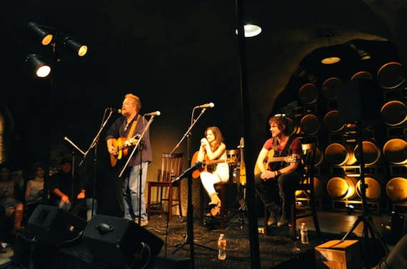 Pictured (L-R): Don Schlitz and Striking Matches perform in the wine caves at Baldacci Family Vineyards. Photo by ASCAP's Alison Toczylowski