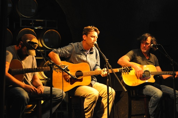 Pictured (L-R): Jonathan Singleton, Travis Hill and David Lee Murphy perform in the wine caves at at Baldacci Family Vineyards. Photo by ASCAP's Alison Toczylowski