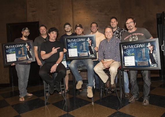 Pictured (Back row, L-R): co-writers Chris Tompkins, Rodney Clawson and Luke Laird; Universal Music Publishing's Kent Earls and Freeman Wizer; (Front row, L-R): Big Machine Label Group's Scott Borchetta, Tim McGraw, BMI's Jody Williams and producer Byron Gallimore.