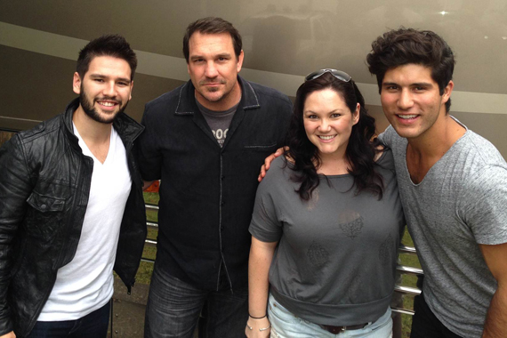 Warner Bros./W.A.R. new duo Dan + Shay recently visited with WRNS in Greenville, NC. Pictured (L-R): Shay Mooney, Tommy Garrett (PD), Carletta Blake (APD) and Dan Smyers