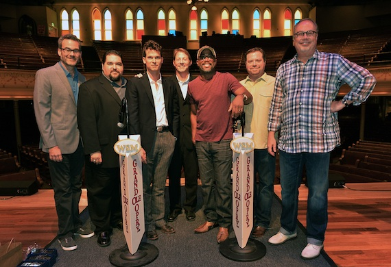 Pictured (L-R): Gaylord Entertainment/Grand Ole Opry's Steve Buchanan, SESAC's Tim Fink, co-writer Ketch Secor, BMI's Clay Bradley, Darius Rucker, producer Frank Rogers, and Capitol Nashville's Mike Dungan. Photo: Rick Diamond