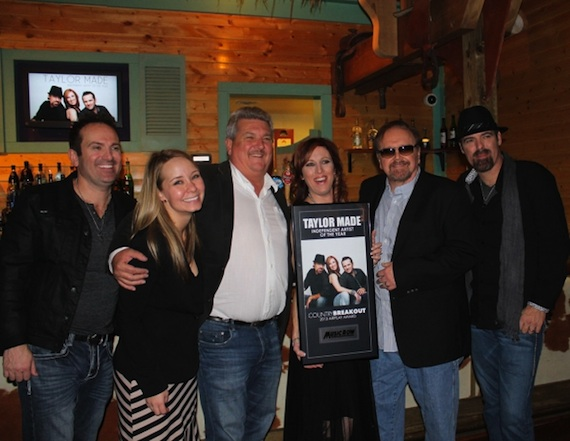 Pictured (left to right): Taylor Made's Greg Duckworth, Nashvill Music Media's Elise Anderson, Little General Records owner Greg Darby, Taylor Made's Wendy Williams, Dan Mitchell, and Taylor Made's Brian Duckworth.